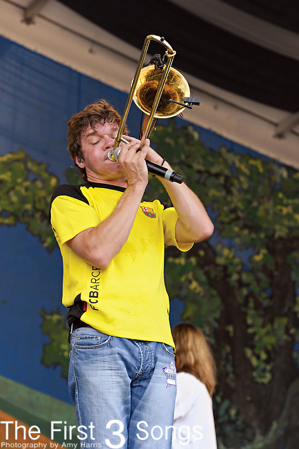 Mark Mullens of Bonerama performs during the New Orleans Jazz & Heritage Festival in New Orleans, LA on May 4, 2012.
