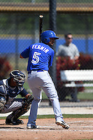Toronto Blue Jays Andy Fermin (5) during a minor league spring training game against the New York Yankees on March 24, 2015 at the Englebert Complex in Dunedin, Florida.  (Mike Janes/Four Seam Images)