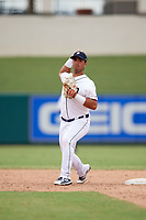 Detroit Tigers Anthony Pereira (68) throws to first base during an Instructional League game against the Toronto Blue Jays on October 12, 2017 at Joker Marchant Stadium in Lakeland, Florida.  (Mike Janes/Four Seam Images)