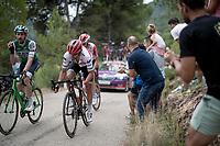 Jacopo Mosca (ITA/Trek - Segafredo) up the steepest part of the brutal Mas de la Costa: the final climb towards the finish<br /> <br /> Stage 7: Onda to Mas de la Costa (183km)<br /> La Vuelta 2019<br /> <br /> ©kramon