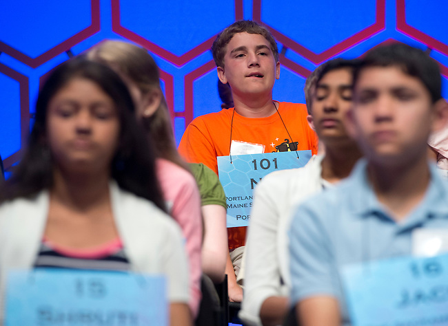 Speller 101 Nat Jordan waits for his turn at the mike during the preliminary rounds of the Scripps National Spelling Bee at the Gaylord National Resort and Convention Center in National Habor, Md., on Wednesday,  May 30, 2012. Photo by Bill Clark