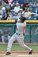 Travis Ishikawa (16) of the Fresno Grizzlies at bat against the Salt Lake Bees at Smith's Ballpark on May 25, 2014 in Salt Lake City, Utah.  (Stephen Smith/Four Seam Images)