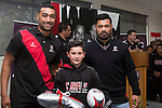 Roller Mills Most Improved Player Timothy Banks from Onewhero Area School with Steelers Jimmy Tupou and Jordan Taufua. Counties Manukau Rugby Unions Junior Prize giving held at ECOLight stadium on Thursday October 22nd 2015. Photo by Richard Spranger