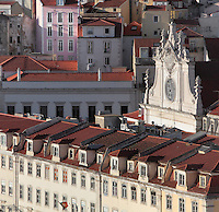 Rooftops of the buildings on Rossio Square or Pedro IV Square, with the roof of the Sao Domingos Church on the right, Pombaline, Lisbon, Portugal. Picture by Manuel Cohen