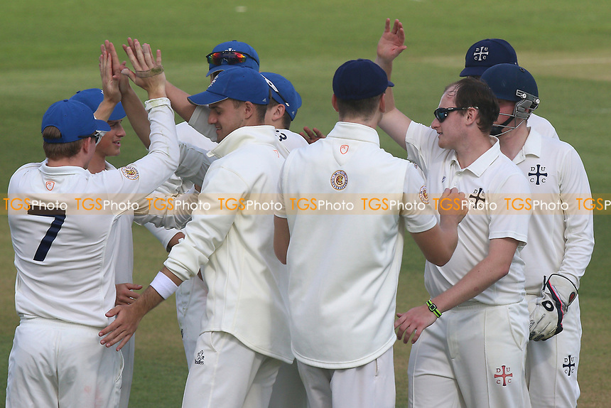 Darrel Williams (2nd R) of Durham claims the wicket of Simon Harmer during Essex CCC vs Durham MCCU, English MCC University Match Cricket at The Cloudfm County Ground on 2nd April 2017
