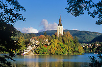 Church of the Assumption, 17th Century baroque church, on Bled Island, Lake Bled, Slovenia, AGPix_0543.