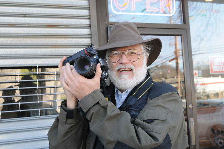 Photo of Jim Peppler taken by Andreas Constantinou in front of Starbucks in Melville, NY on Monday March 1, 2010.. Photo © Jim Peppler 2010.
