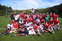 The teams pose for a group photo after the rugby match between New Zealand Schools Barbarians and Fiji Schools at Jerry Collins Stadium in Porirua, Wellington, New Zealand on Friday, 1 October 2018. Photo: Dave Lintott / lintottphoto.co.nz