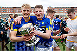 Killian Spillane Kerry captain celebrates with his teammate Conor Cox after Kerry's victory over Meath in the All Ireland Junior Football Final at O'Moore Park, Portlaoise on Saturday.