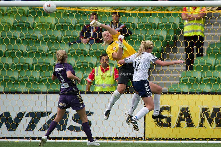 MELBOURNE, AUSTRALIA - DECEMBER 18: Tine CEDERKVIST of the Glory punches the ball away from goal during the round 7 W-League match between the Melbourne Victory and the Perth Glory at AAMI Park on December 18, 2010 in Melbourne, Australia. (Photo Sydney Low / asteriskimages.com)