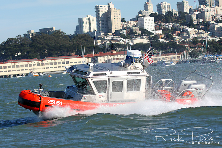 A Defender Class Response Boat (RB-S) on patrol along the San Francisco Waterfront. The RB-S was designed as a homeland security and law enforcement platform to conduct escorts, enforce security zones, and deliver boarding teams.