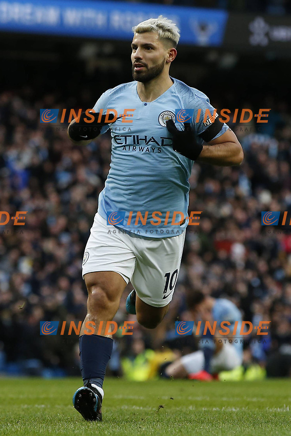 Sergio Aguero of Manchester City celebrates scoring the second goal during the Premier League match at the Etihad Stadium, Manchester. Picture date: 10th February 2019. Picture credit should read: Andrew Yates/Sportimage/Imago/Insidefoto PUBLICATIONxNOTxINxUK _AY13088.JPG<br /> ITALY ONLY