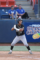 Mark Mathias (12) of the Cal Poly Mustangs bats during a game against the Cal State Fullerton Titans at Goodwin Field on April 2, 2015 in Fullerton, California. Cal Poly defeated Cal State Fullerton, 5-0. (Larry Goren/Four Seam Images)