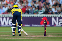 Hampshire's Chris Wood is bowled by Notts Outlaws' Jake Ball<br /> <br /> Photographer Andrew Kearns/CameraSport<br /> <br /> NatWest T20 Blast Semi-Final - Hampshire v Notts Outlaws - Saturday 2nd September 2017 - Edgbaston, Birmingham<br /> <br /> World Copyright &copy; 2017 CameraSport. All rights reserved. 43 Linden Ave. Countesthorpe. Leicester. England. LE8 5PG - Tel: +44 (0) 116 277 4147 - admin@camerasport.com - www.camerasport.com