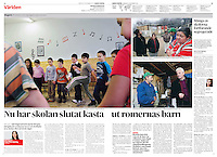 Dagens Nyheter (main Swedish daily) on Gypsy school segregation<br /> Budapest, Hungary, 12.2011<br /> Pictures: Martin Fejer