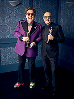 Oscar® winners Elton John and Bernie Taupin during the 92nd Oscars® on Sunday, February 9, 2020 at the Dolby Theatre® in Hollywood, CA, televised live by the ABC Television Network.<br /> *Editorial Use Only*<br /> CAP/AMPAS<br /> Supplied by Capital Pictures
