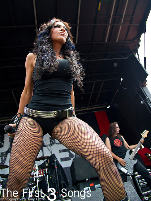 Carla Harvey of Butcher Babies performs during the 2013 Mayhem Festival at Klipsch Music Center in Indianapolis, Indiana.
