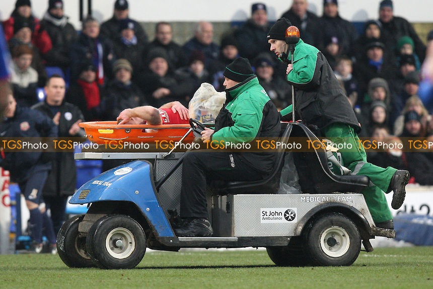 Stephen Dawson of Barnsley is stretchered off with an injury - Ipswich Town vs Barnsley - NPower Championship Football at Portman Road, Ipswich, Suffolk - 19/01/13 - MANDATORY CREDIT: Gavin Ellis/TGSPHOTO - Self billing applies where appropriate - 0845 094 6026 - contact@tgsphoto.co.uk - NO UNPAID USE.