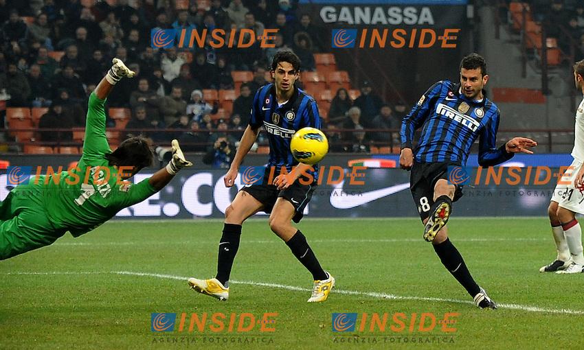"""Il gol di THIAGO MOTTA (Inter) goal celebration.Milano 19/11/2011 Stadio """"Giuseppe Meazza"""".Serie A 2011/2012.Football Calcio Inter Vs Cagliari.Foto Insidefoto Alessandro Sabattini."""