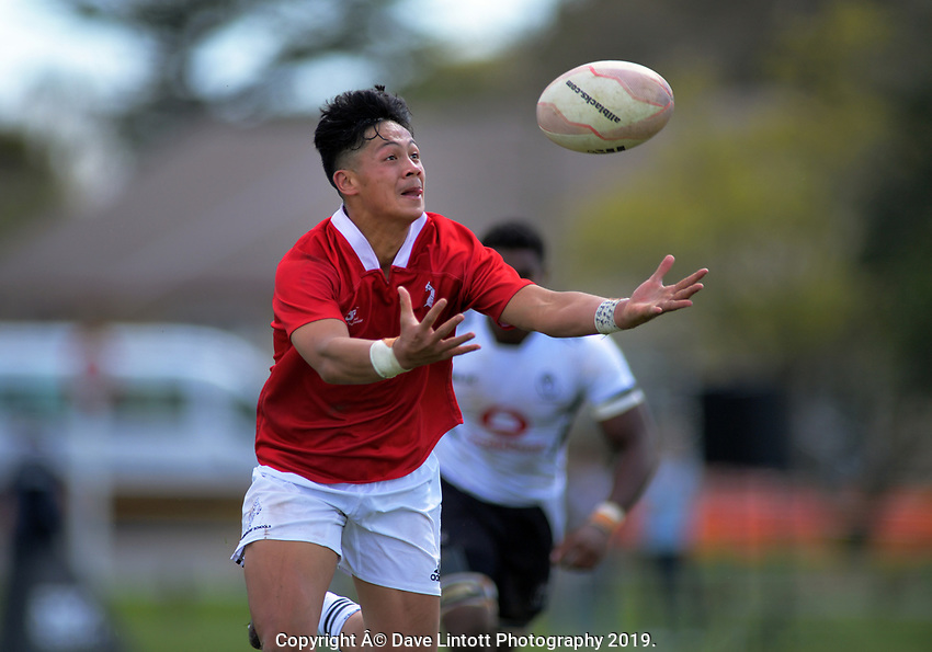 Lattrell Smiler-Ah Kiong takes an intercept to score during the rugby union match between New Zealand Schools Barbarians and Fiji Schools at St Paul's Collegiate in Hamilton, New Zealand on Friday, 4 October 2019. Photo: Dave Lintott / lintottphoto.co.nz
