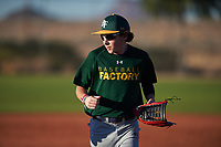 Garrett Clasen (47), from Casper, Wyoming, while playing for the Athletics during the Under Armour Baseball Factory Recruiting Classic at Red Mountain Baseball Complex on December 29, 2017 in Mesa, Arizona. (Zachary Lucy/Four Seam Images)