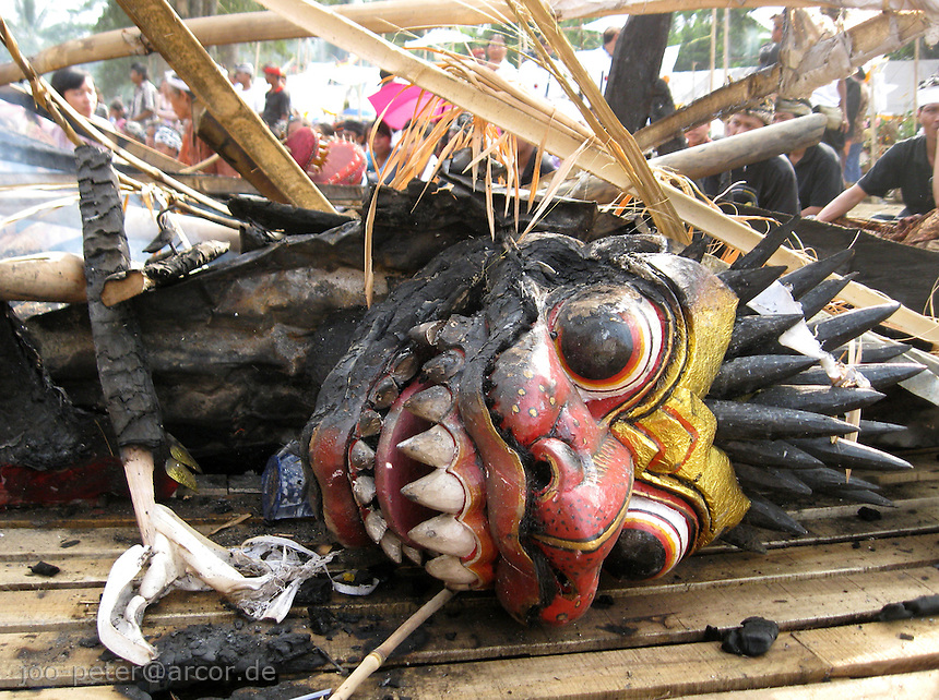 head of a mythical creture after cremation of the complete sculpture, carrying the reminders of the passed family member, cremation ceremonies in Tampak Siring, village of horn carving art, central Bali, archipelago Indonesia, August 2009