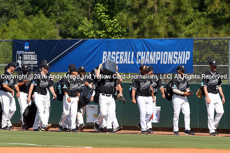 28 May 2016: Nova Southeastern's players walk to their dugout before the game. The Nova Southeastern University Sharks played the Franklin Pierce University Ravens in Game 3 of the 2016 NCAA Division II College World Series  at Coleman Field at the USA Baseball National Training Complex in Cary, North Carolina. Nova Southeastern won the game 4-3 in twelve innings.