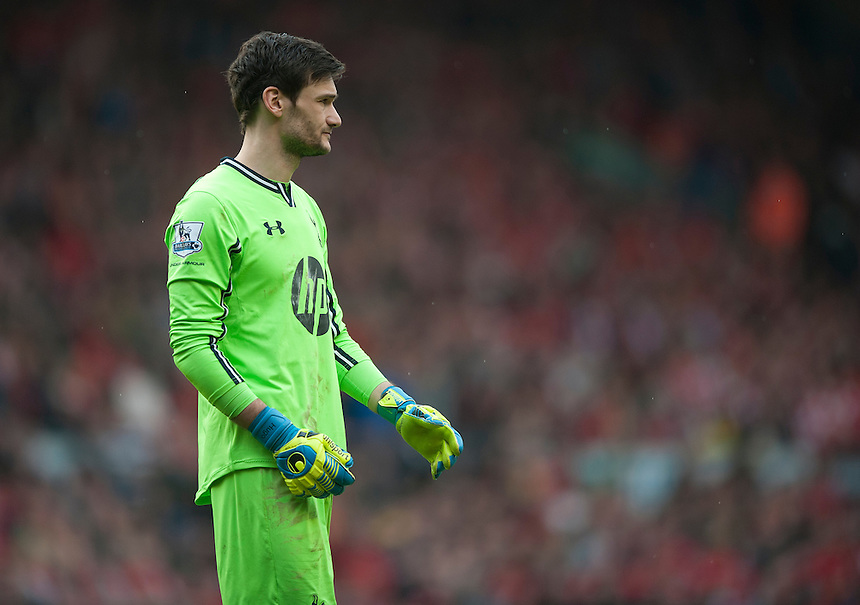 Tottenham Hotspur's goalkeeper Hugo Lloris<br /> <br /> Photo by Stephen White/CameraSport<br /> <br /> Football - Barclays Premiership - Liverpool v Tottenham Hotspur	 - Sunday 30th March 2014 - Anfield - Liverpool<br /> <br /> &copy; CameraSport - 43 Linden Ave. Countesthorpe. Leicester. England. LE8 5PG - Tel: +44 (0) 116 277 4147 - admin@camerasport.com - www.camerasport.com