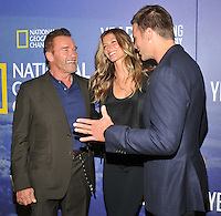 New York, NY- September 20:  Arnold Schwarzenegger, Gisele Bundchen, Tom Brady attends National Geographic's 'Years Of Living Dangerously' new season world premiere at the American Museum of Natural History on September 21, 2016 in New York City.@John Palmer / Media Punch