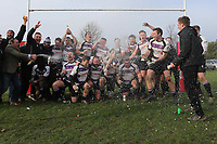 Woodford celebrate their promotion Romford & Gidea Park RFC vs Woodford RFC, London 2 North East Division Rugby Union at Crowlands on 9th March 2019