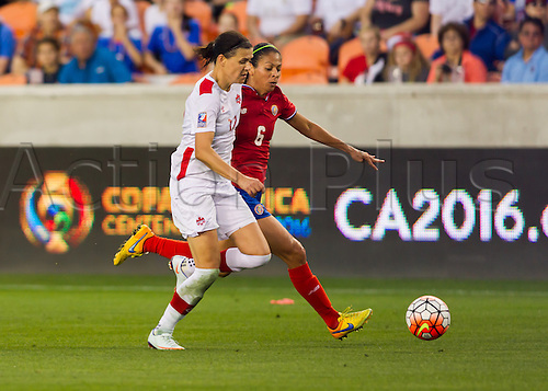 19.02.2016. Houston, TX, USA.  Canada Forward Christine Sinclair (12)  and Costa Rica Defender Carol Sánchez (6) during the Women's Olympic semi-final qualifying game between Canada and Costa Rica at BBVA Compass Stadium in Houston, Texas.