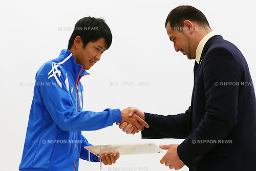 (L-R)<br /> Kodai Sakuma,<br /> Koji Murofushi,<br /> JANUARY 9, 2015 - Athletic : <br /> Certification ceremony of Diamond athletes is held at Ajinomoto National Training Center, Tokyo, Japan.<br /> Diamond athletes is players who would play an active part in Tokyo Olympic 2020.<br /> (Photo by Shingo Ito/AFLO SPORT) [1195]