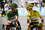 Green Jersey Peter Sagan (SVK) Bora-Hansgrohe and Yellow Jersey Julian Alaphilippe (FRA) Deceuninck-Quick Step lined up for the start of Stage 4 of Tour de France 2020, running 160.5km from Sisteron to Orcieres-Merlette, France. 1st September 2020.<br /> Picture: ASO/Pauline Ballet | Cyclefile<br /> All photos usage must carry mandatory copyright credit (© Cyclefile | ASO/Pauline Ballet)