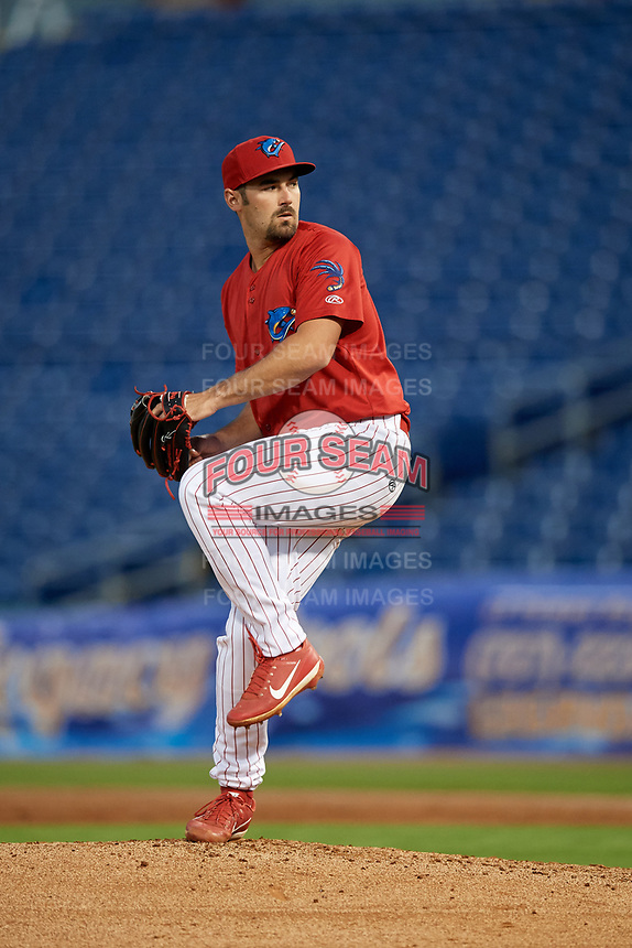 Clearwater Threshers relief pitcher Blake Quinn (55) delivers a pitch during a game against the Jupiter Hammerheads on April 12, 2018 at Spectrum Field in Clearwater, Florida.  Jupiter defeated Clearwater 8-4.  (Mike Janes/Four Seam Images)
