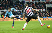29th January 2019, St James Park, Newcastle upon Tyne, England; EPL Premier League football, Newcastle United versus Manchester City; Kevin de Bruyne of Manchester City hits a low cross with Florian Lejeune of Newcastle United trying to block