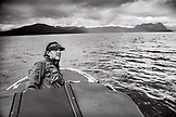 CANADA, Vancouver, British Columbia, Eric Petersen drives his boat out to Port Graves, Gambier Island in the Howe Sound (B+W)