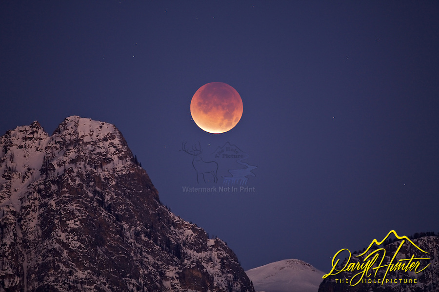 Full eclipse of the Moon over Death Canyon in Grand Teton National Park.