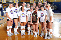 22 November 2008:  The Western Kentucky University Lady Toppers pose with the championship trophy after the WKU 3-0 victory over New Orleans in the championship game of the Sun Belt Conference tournament at U.S. Century Bank Arena in Miami, Florida.