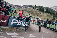 Chris Froome (GBR/SKY) leading the race by 6 seconds up the infamous Monte Zoncolan (1735m/11%/10km) (and on his way to winning the stage)<br /> <br /> stage 14 San Vito al Tagliamento &ndash; Monte Zoncolan (186 km)<br /> 101th Giro d'Italia 2018