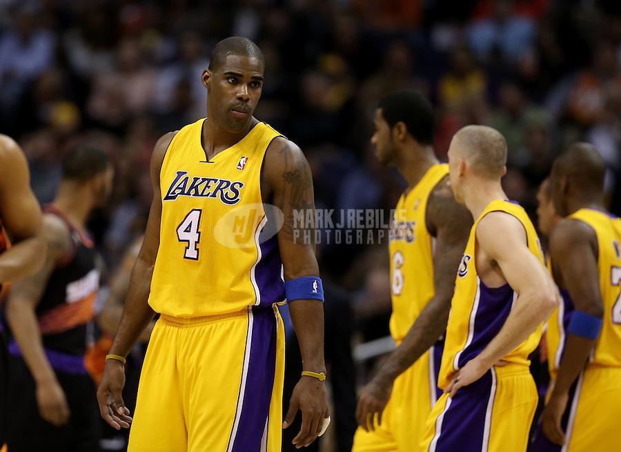 Jan. 30, 2013; Phoenix, AZ, USA: Los Angeles Lakers forward Antawn Jamison (4) against the Phoenix Suns at the US Airways Center. Mandatory Credit: Mark J. Rebilas-