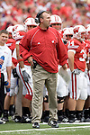MADISON, WI - SEPTEMBER 9: Head coach Bret Bielema of the Wisconsin Badgers paces the sideline against the Western Illinois Leathernecks at Camp Randall Stadium on September 9, 2006 in Madison, Wisconsin. The Badgers beat the Leathernecks 34-10. (Photo by David Stluka)