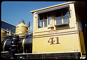 Fireman's-side view of RGS C-19 #41 cab in gaudy Grande Gold paint job at Knott's Berry Farm lettered for Denver and Rio Grande.<br /> RGS (D&amp;RG)  Knotts Berry Farm, Buena Park, CA  ca. 1970-1979