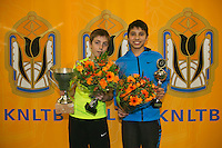 Rotterdam, The Netherlands, 15.03.2014. NOJK 14 and 18 years ,National Indoor Juniors Championships of 2014, Winner  boys14 years: Sander Jong(L) and runner up Sidané Pontjodikromo<br /> Photo:Tennisimages/Henk Koster