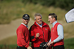 Colin Montgomerie and Paul Casey congradulate Marc Warren after his match during the final round singles of the Seve Trophy at The Heritage Golf Resort, Killenard,Co.Laois, Ireland 30th September 2007 (Photo by Eoin Clarke/GOLFFILE)