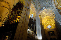Church organ inside the Seville Cathedral, Seville, Andalusia, Spain.
