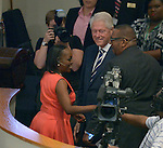 MIAMI, FL - OCTORBER 23: Former U.S. President Bill Clinton (C)  and Bishop Victor T. Curry (R) attend New Birth Baptist Cathedral of Faith International on Sunday October 23, 2016 in Miami, Florida.  ( Photo by Johnny Louis / jlnphotography.com )