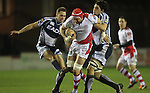 17 February 2012; Cory Hill and Dan Parks slow down Dan Tuohy. Celtic League, Cardiff Blues v Ulster, Cardiff Arms Park, Cardiff, Wales..Picture credit: Steve Pope / SPORTINGWALES