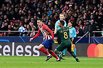 Atletico de Madrid's Nikola Kalinic and AS Monaco's Youri Tielemans during UEFA Champions League match between Atletico de Madrid and AS Monaco at Wanda Metropolitano Stadium in Madrid, Spain. November 28, 2018. (ALTERPHOTOS/A. Perez Meca)
