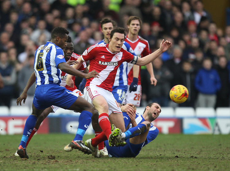 Middlesbrough's Dean Whitehead (C) in action during todays match  <br /> <br /> Photographer Jack Phillips/CameraSport<br /> <br /> Football - The Football League Sky Bet Championship - Sheffield Wednesday v Middlesbrough - Saturday 28th February 2015 - Hillsborough - Sheffield<br /> <br /> &copy; CameraSport - 43 Linden Ave. Countesthorpe. Leicester. England. LE8 5PG - Tel: +44 (0) 116 277 4147 - admin@camerasport.com - www.camerasport.com