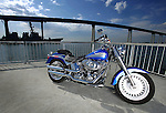 SAN DIEGO, CA - JULY 22:  A shot of a Harley Davidson Fatboy in front of the Coronado Bridge during the Harley Davidson Release test ride for Stern Magazine on July 22 in San Diego, California. (Photo by Donald Miralle) *** Local Caption *** Helmut Werb